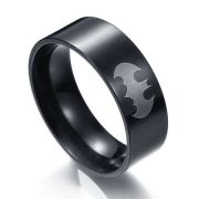 Batman prsten stříbrné Logo (ocel) - černý