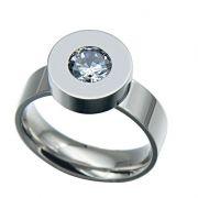 Prsten se zirkonem (ocel) s výměnnými kameny