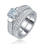 Prsteny s diamantem a křišťály (set)