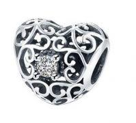 Korálek na náramek srdce leden stříbro 925