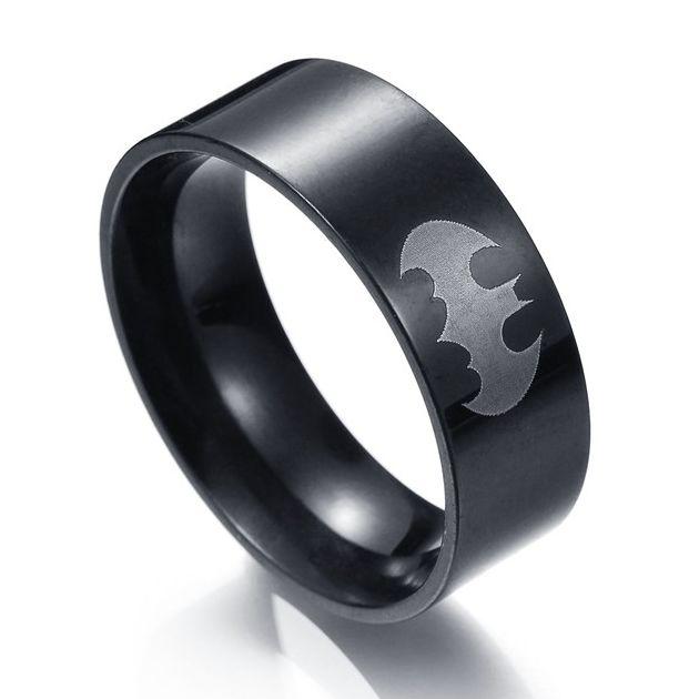 Batman - prsten stříbrné Logo Batman Classic (ocel) - černý