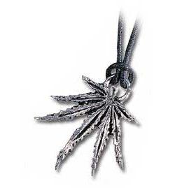 Náhrdelník Alchemy Cannabis leaf - přívěsek na kůži Alchemy Gothic