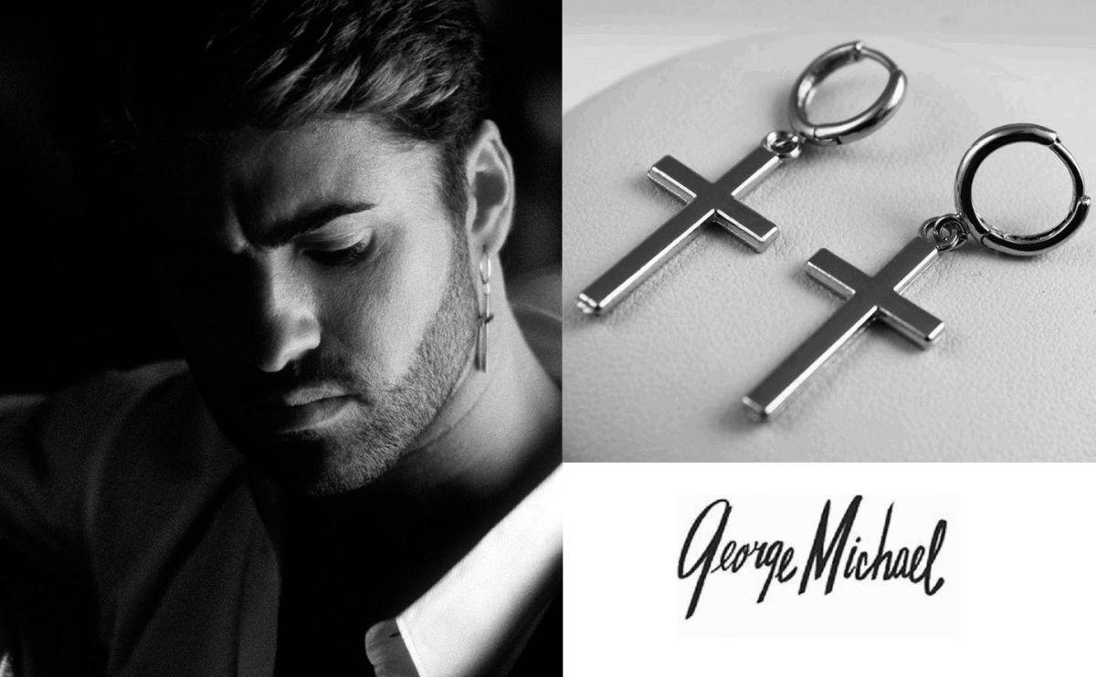 náušnice George Michael s křížem