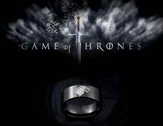 ocelový prsten Hra o trůny černý