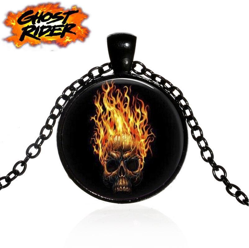řetízek Ghost Rider - hořící lebka