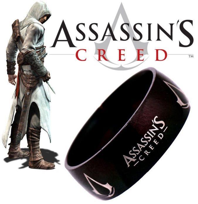 černý prsten Assassins Creed ocelový