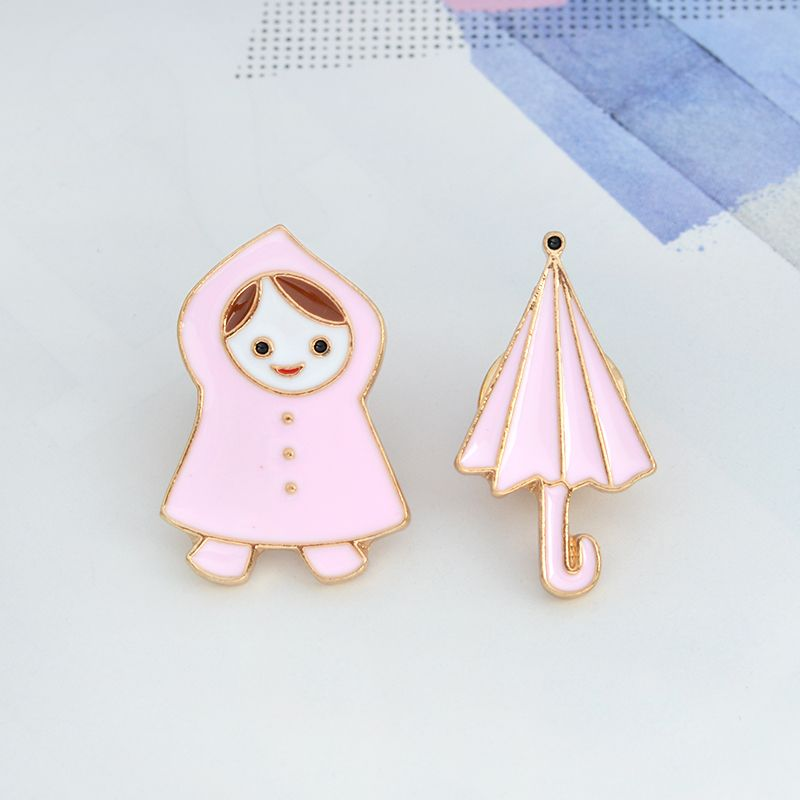 Holčička v pláštěnce a Deštník odznáček (brož) - set