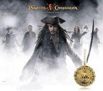 Piráti z Karibiku / Pirates of the Caribbean náhrdelník  Aztécká mince (starozlatá)