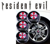 Resident Evil - středové znaky krytů kol Umbrella Corporation 4ks