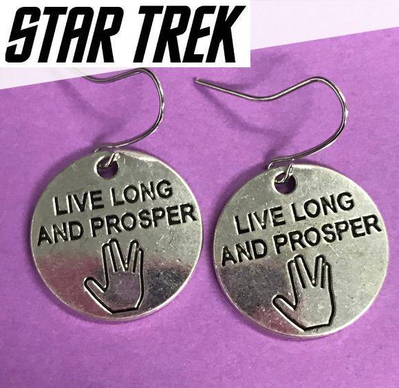 náušnice Star Trek Spock Live Long and Prosper Jobra