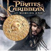 Piráti z Karibiku - náhrdelník - Aztécká mince (zlatá) větší