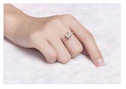 Set: Prstýnek s kamenem a prstýnek s kamínky barvy růžového zlata