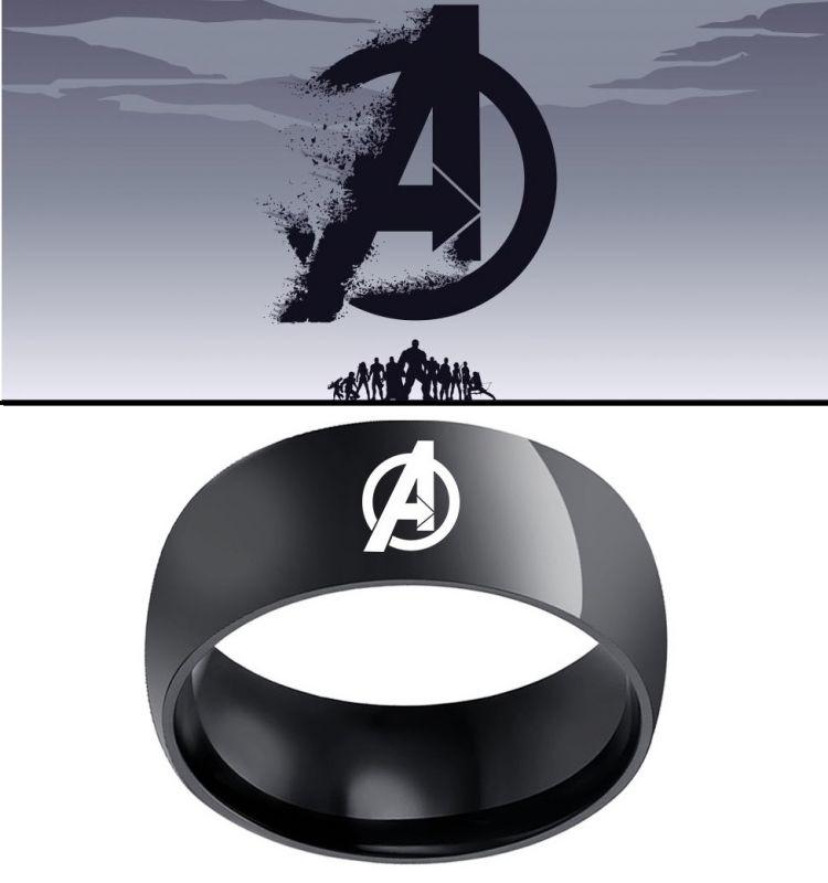 Avengers - ocelový prsten s logem Avengers černý