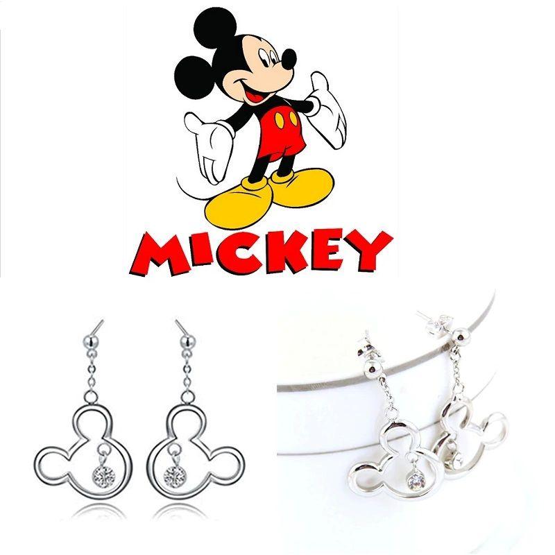 Ocelové visací náušnice Mickey Mouse se zirkonem