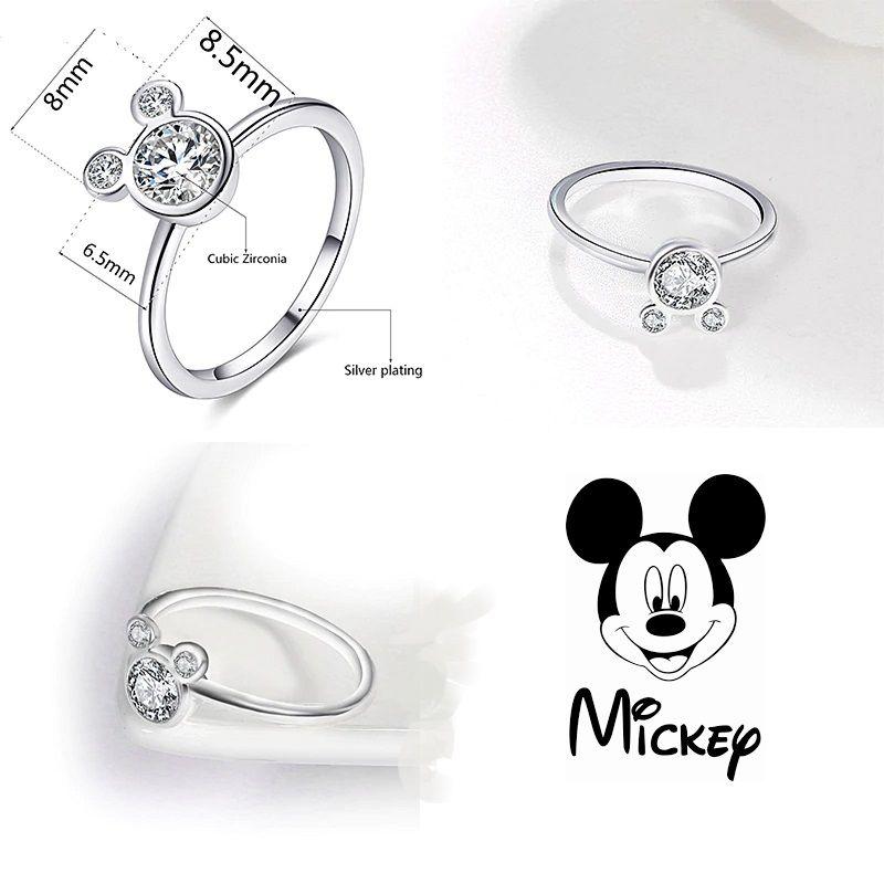 Mickey Mouse - prsten se zirkonem stříbřený
