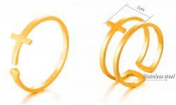 ocelový prsten kříž