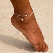 Set dvou náramků / řetízků na nohu: se srdíčkem, se soudečky