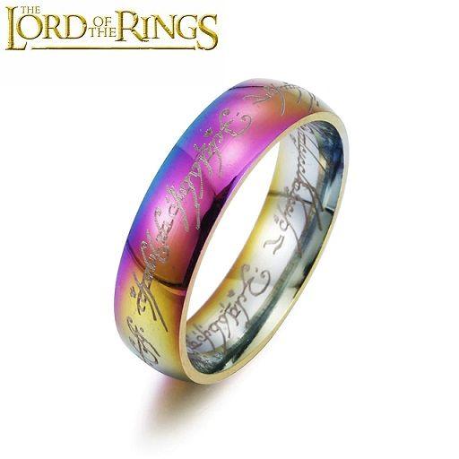 Jeden prsten Prsten moci Pán prstenů - duhový 6 mm pánský