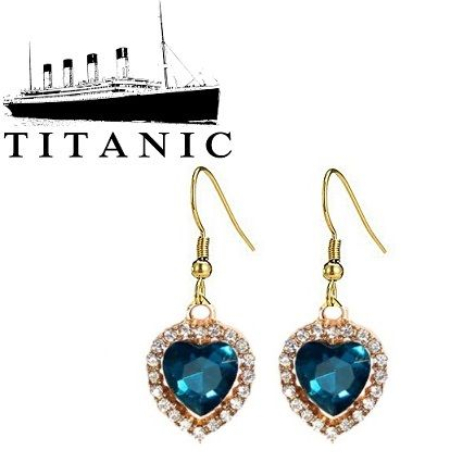 visací náušnice Titanic Srdce oceánu zlaté