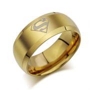 Superman prsten Logo (ocel) - zlatý