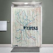Walking Dead sprchový závěs Terminus mapa